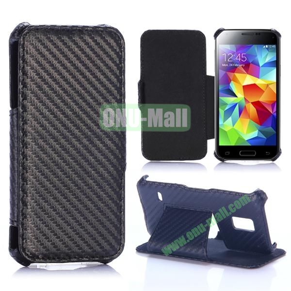Carbon Fiber Pattern Flip Stand Leather Case for Samsung Galaxy S5 Mini (Black)