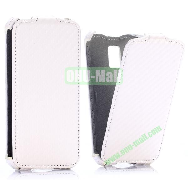 Carbon Fiber Pattern Vertical Flip Leather Case for Samsung Galaxy S5 Mini (White)