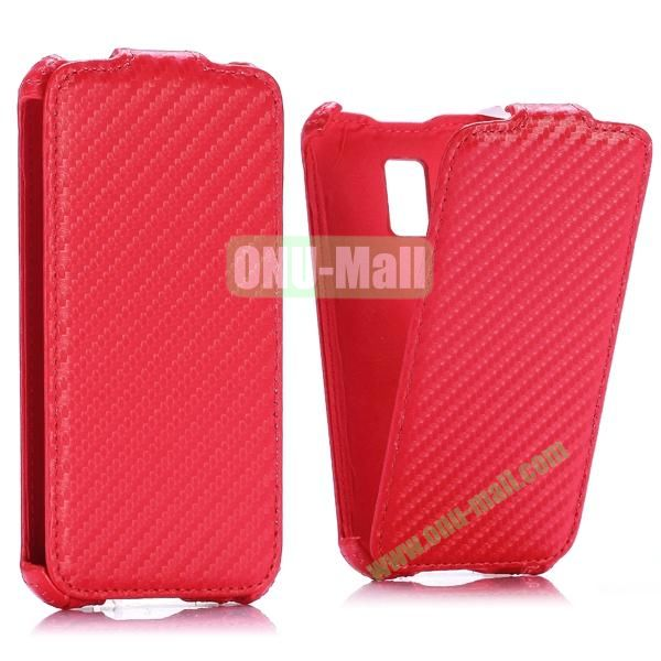 Carbon Fiber Pattern Vertical Flip Leather Case for Samsung Galaxy S5 Mini (Red)