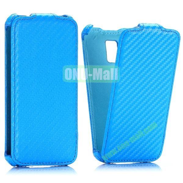 Carbon Fiber Pattern Vertical Flip Leather Case for Samsung Galaxy S5 Mini (Blue)