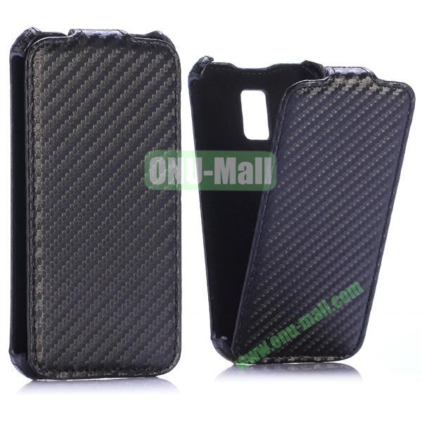 Carbon Fiber Pattern Vertical Flip Leather Case for Samsung Galaxy S5 Mini (Black)