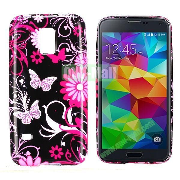 Hot Pink Flower And Butterfly Pattern TPU Case Cover for Samsung Galaxy S5 Mini G870a G800 S5 Dx G870W