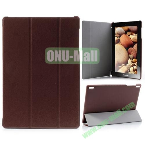 Official 3-Floding Leather Case for Lenovo IdeaTab S6000 with WiFi Function (Brown)