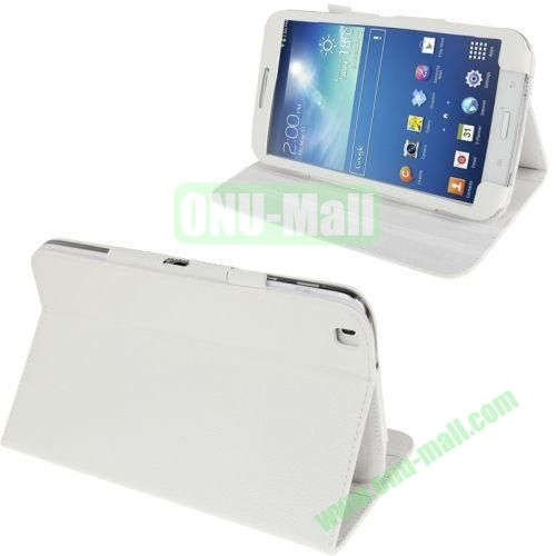 Lichi Texture Leather Case for Samsung Galaxy Tab 3 8.0T311T310 with Pen Holder (White)