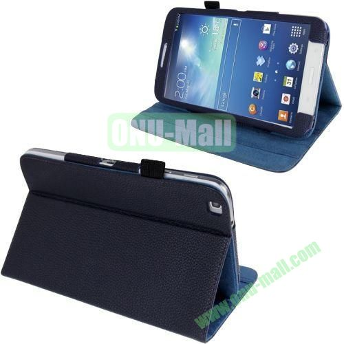 Lichi Texture Leather Case for Samsung Galaxy Tab 3 8.0T311T310 with Pen Holder (Dark Blue)