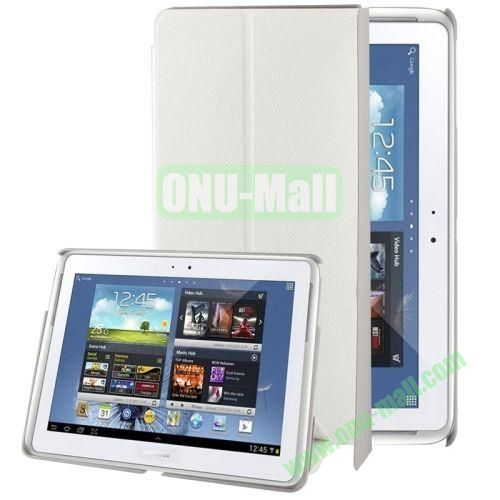 3-folding Leather Case for Samsung Galaxy Note 10.1(2014 Edition)P600 with Holder (White)