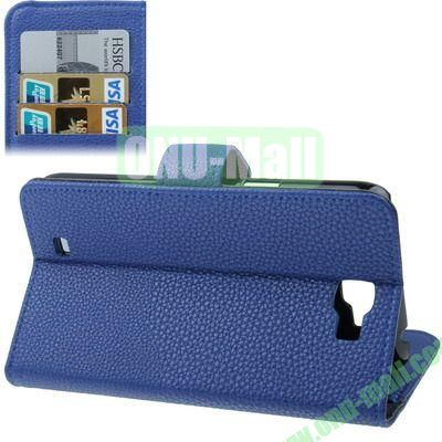 Litchi Texture Leather Case for Samsung Galaxy Note II  N7100 with Credit Card Slot & Holder (Blue)