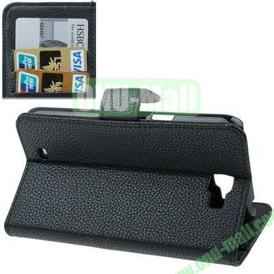Litchi Texture Leather Case for Samsung Galaxy Note II  N7100 with Credit Card Slot & Holder (Black)