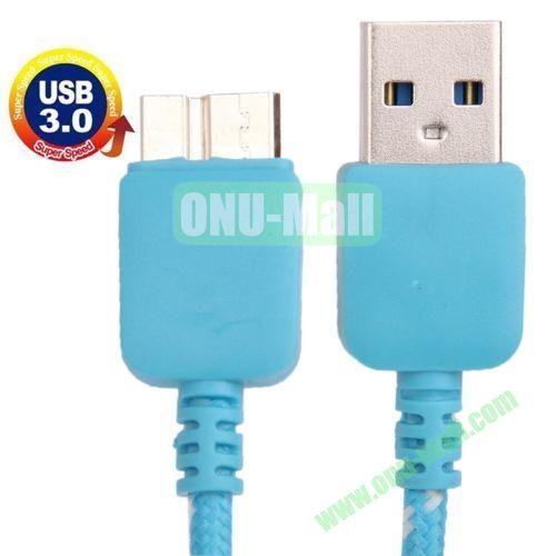 1m Nylon Braid USB Cable for Samsung Galaxy Note III  N9000  N9002  N9006, Length: 1m (Blue)