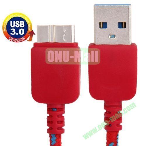 1m Nylon Braid USB Cable for Samsung Galaxy Note III  N9000  N9002  N9006, Length: 1m (Red)