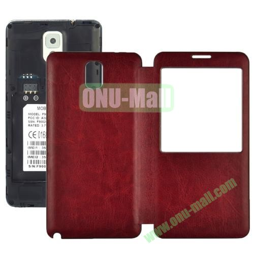 Crazy Horse Pattern S View Leather Back Cover for Samsung Galaxy Note 3 with Caller ID Display Window (Red)