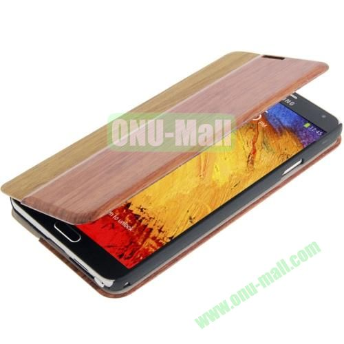 Rosewood + Leather Magnetic Case for Samsung Galaxy Note IIIN9000 with Credit Card Slot (Brown)