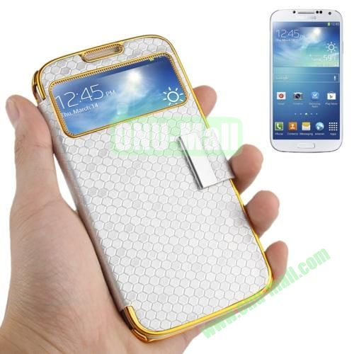 Honeycomb Texture Leather Case for Samsung Galaxy S4 i9500 with Call Display Window (Grey)