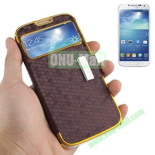 Honeycomb Texture Leather Case for Samsung Galaxy S4 i9500 with Call Display Window (Coffee)