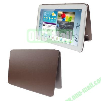 Official Design Cloth Texture Plastic + Leather Case for Samsung Galaxy Tab 2 (10.1)  P5100 (Coffee)