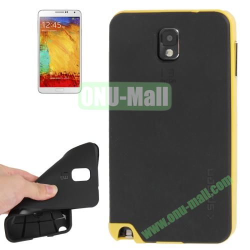 TPU Back Cover + Polycarbonate Frame Case for Samsung Galaxy Note 3 N9000 (Yellow)