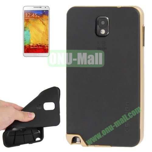 TPU Back Cover + Polycarbonate Frame Case for Samsung Galaxy Note 3 N9000 (Golden)