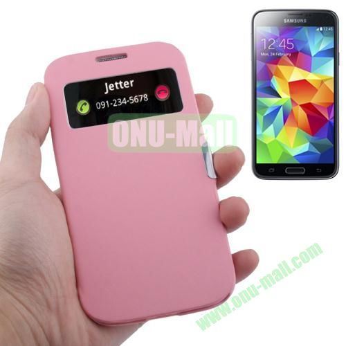 Fabric Texture Leather Case for Samsung Galaxy S5  i9500x with Caller ID Display (Pink)
