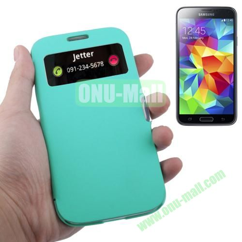 Fabric Texture Leather Case for Samsung Galaxy S5  i9500x with Caller ID Display (Light Green)