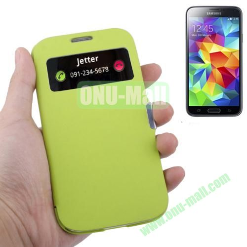 Fabric Texture Leather Case for Samsung Galaxy S5  i9500x with Caller ID Display (Fluorescent Green)