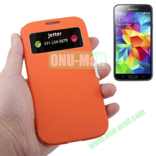 Fabric Texture Leather Case for Samsung Galaxy S5  i9500x with Caller ID Display (Orange)