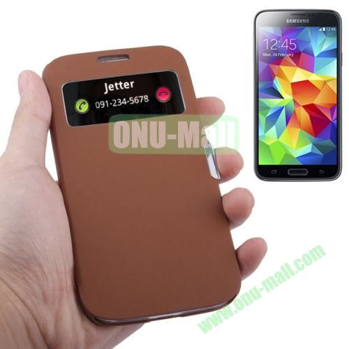 Fabric Texture Leather Case for Samsung Galaxy S5  i9500x with Caller ID Display (Brown)