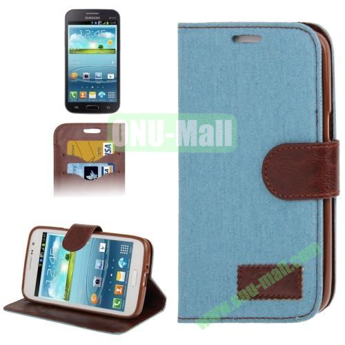 Denim Texture Leather Cover for Samsung Galaxy Grand 2  G7106 with Credit Card Slots  (Baby Blue)