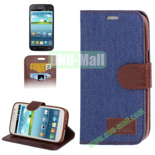 Denim Texture Leather Cover for Samsung Galaxy Grand 2  G7106 with Credit Card Slots  (Dark Blue)