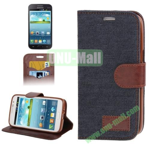 Denim Texture Leather Cover for Samsung Galaxy Grand 2  G7106 with Credit Card Slots  (Black)