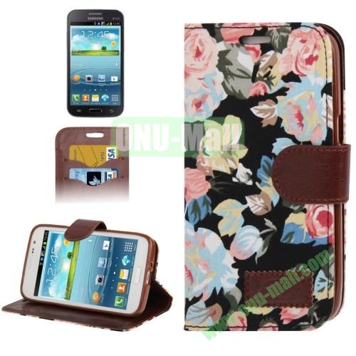 Denim Texture Leather Case for Samsung Galaxy Grand 2  G7106 with Credit Card Slots  (Black)