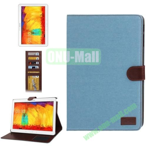 Denim Texture Leather Cover  for Samsung Galaxy Note 10.1  P600 (2014 Edition) with Credit Card Slots,  Baby Blue