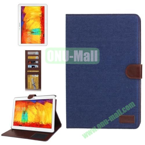 Denim Texture Leather Cover  for Samsung Galaxy Note 10.1  P600 (2014 Edition) with Credit Card Slots,  Dark Blue