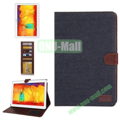 Denim Texture Leather Cover  for Samsung Galaxy Note 10.1  P600 (2014 Edition) with Credit Card Slots,  Black