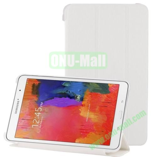 3-folding Toothpick Texture Leather Case for Samsung Galaxy Tab Pro 8.4  T320 with Transparent Back Cover (White)