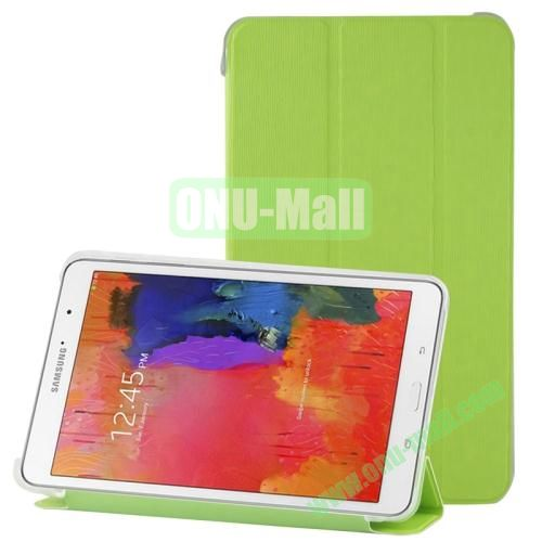 3-folding Toothpick Texture Leather Case for Samsung Galaxy Tab Pro 8.4  T320 with Transparent Back Cover (Green)