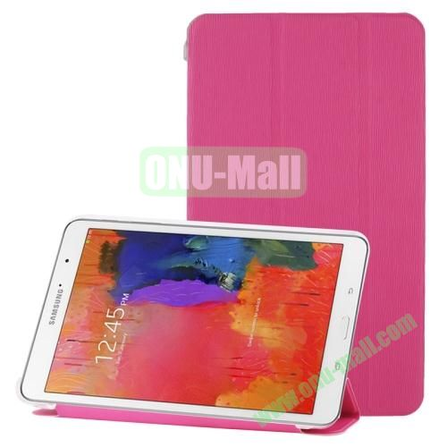 3-folding Toothpick Texture Leather Case for Samsung Galaxy Tab Pro 8.4  T320 with Transparent Back Cover (Magenta)