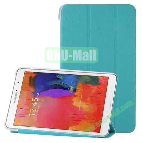 3-folding Toothpick Texture Leather Case for Samsung Galaxy Tab Pro 8.4  T320 with Transparent Back Cover (Blue)
