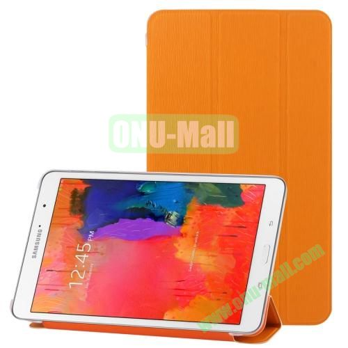 3-folding Toothpick Texture Leather Case for Samsung Galaxy Tab Pro 8.4  T320 with Transparent Back Cover (Orange)