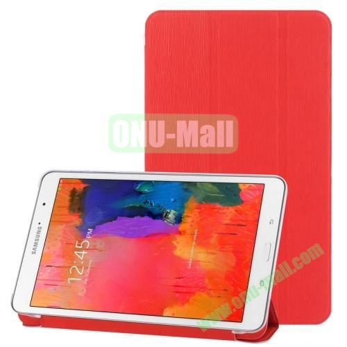3-folding Toothpick Texture Leather Case for Samsung Galaxy Tab Pro 8.4  T320 with Transparent Back Cover (Red)