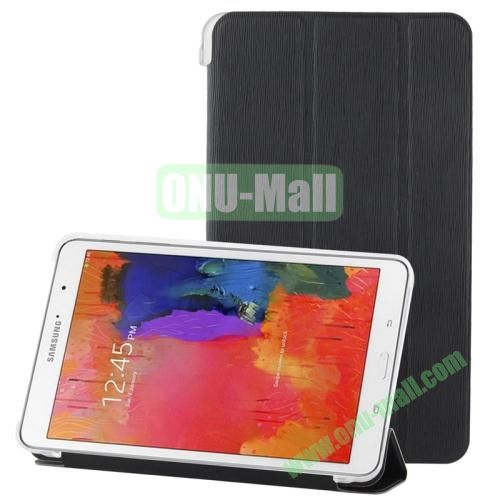 3-folding Toothpick Texture Leather Case for Samsung Galaxy Tab Pro 8.4  T320 with Transparent Back Cover (Black)