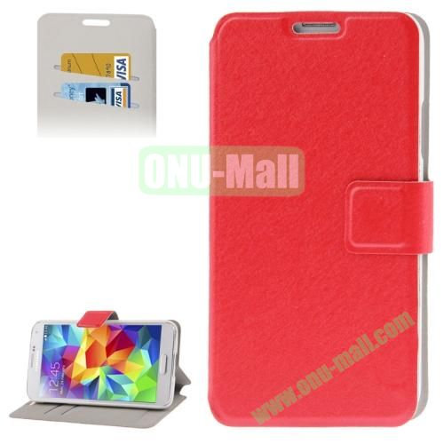 Hairline Texture Leather Case for Samsung Galaxy S5  i9600 with Credit Card Slots (Red)