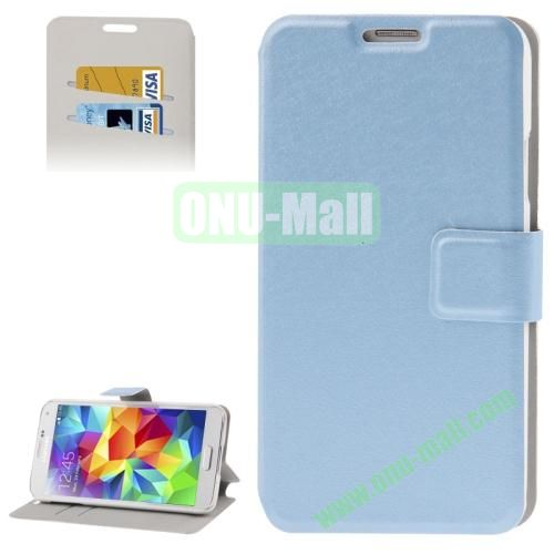 Hairline Texture Leather Case for Samsung Galaxy S5  i9600 with Credit Card Slots (Blue)