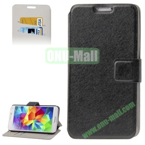 Hairline Texture Leather Case for Samsung Galaxy S5  i9600 with Credit Card Slots (Black)