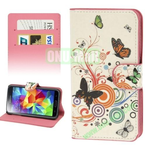 Leather Case for Samsung Galaxy S5  i9600 with Credit Card Slots (Butterflies)