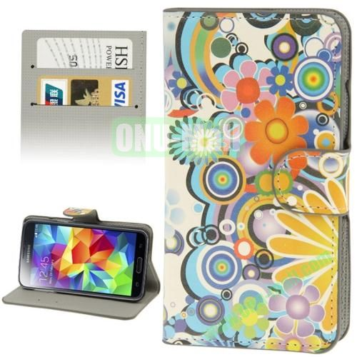 Leather Case for Samsung Galaxy S5  i9600 with Credit Card Slots (Beautiful Flower)
