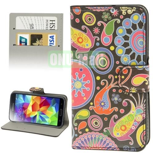 Leather Case for Samsung Galaxy S5  i9600 with Credit Card Slots ( Elegant Flower)