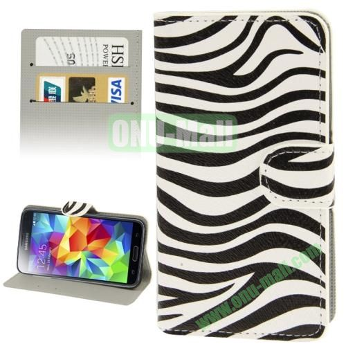 Leather Case for Samsung Galaxy S5  i9600 with Credit Card Slots ( Zebra Pattern)