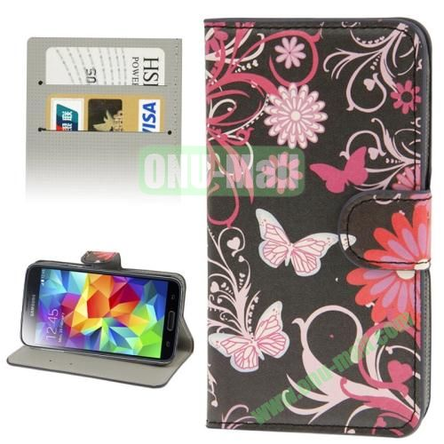 Leather Case for Samsung Galaxy S5  i9600 with Credit Card Slots (Butterfly and Flower)