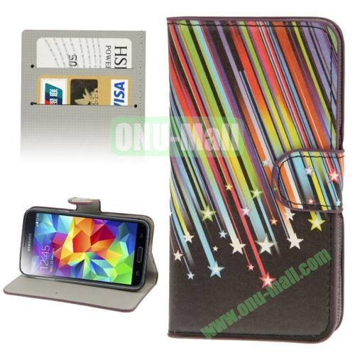 Leather Case for Samsung Galaxy S5  i9600 with Credit Card Slots (Meteor Pattern)