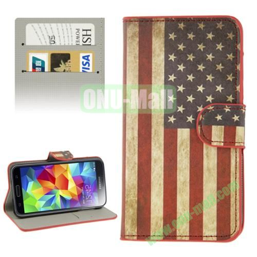 Leather Case for Samsung Galaxy S5  i9600 with Credit Card Slots (USA Flag Pattern)